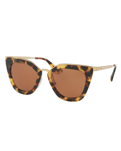 Prada Gradient Metal-Trim Geometric Cat-Eye Sunglasses
