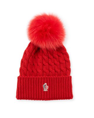 Moncler Berretto Knit Hat w/ Fur Pompom