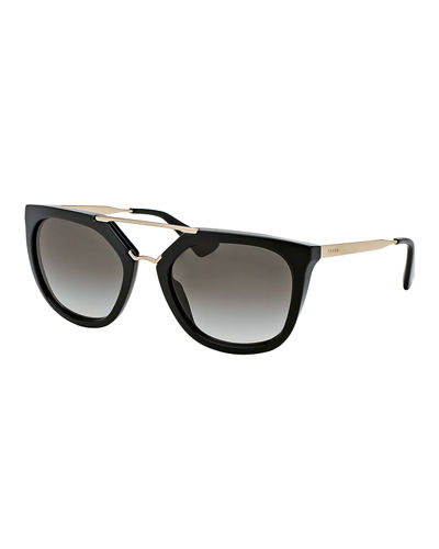Straight-Brow Double-Bridge Sunglasses
