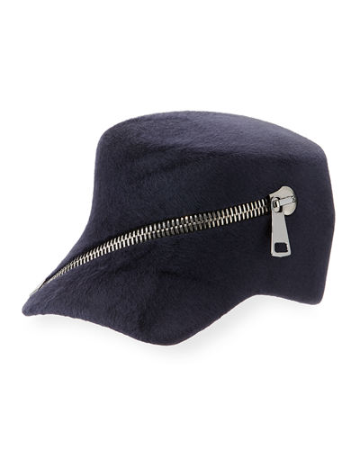 Philip Treacy Trilby Velour Baseball Cap w/ Oversized