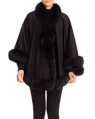 Cashmere Capelet with Fox Fur Trim