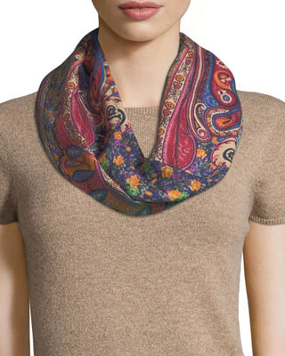 Etro Calcutta Printed Wool/Silk Scarf