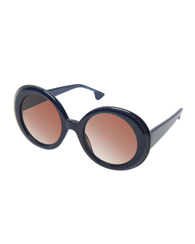 Mulholland Glittered Round Sunglasses