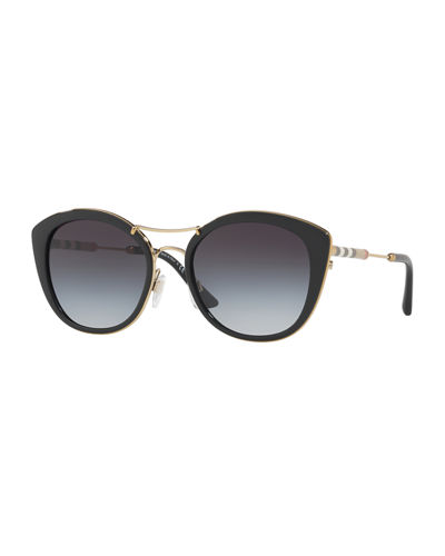 Round Sunglasses with Metal Trim