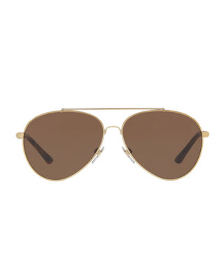 Image 2 of 2: Aviator Sunglasses with Check Temples