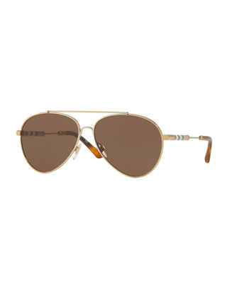Image 1 of 2: Aviator Sunglasses with Check Temples