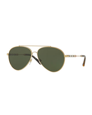 Burberry Aviator Sunglasses with Check Temples