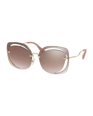 Image 1 of 2: Square Cutout Metal Sunglasses