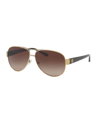 60MM AVIATOR SUNGLASSES - GOLD/ BROWN