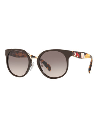 Image 1 of 2: Two-Tone Round Acetate Sunglasses