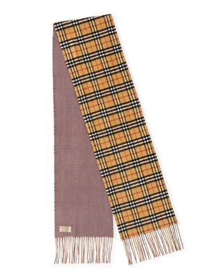 Burberry Cashmere Check-to-Solid Reversible Scarf