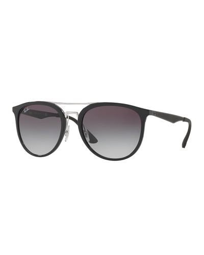 Round Gradient Brow-Bar Sunglasses