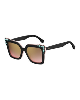 Can Eye Two-Tone Studded Square Sunglasses