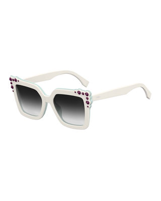 Can Eye Two-Tone Studded Square Sunglasses in White/Blue