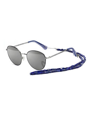 Image 1 of 3: Gilmour Oval Sunglasses w/ Stone Neck Strap