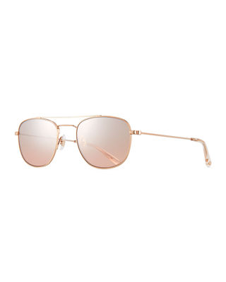 Garrett Leight Club House Rectangle Stainless Steel Sunglasses
