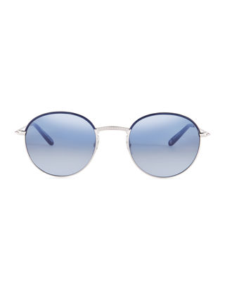 Image 2 of 3: Cloy Round Stainless Steel Sunglasses w/ Acetate Trim