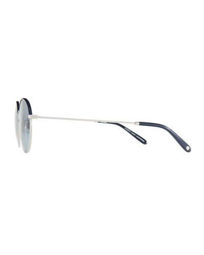Cloy Round Stainless Steel Sunglasses w/ Acetate Trim