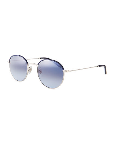 Garrett Leight Cloy Round Stainless Steel Sunglasses w/