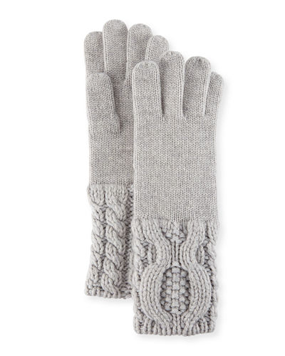 Knit-Cuff Cashmere Gloves