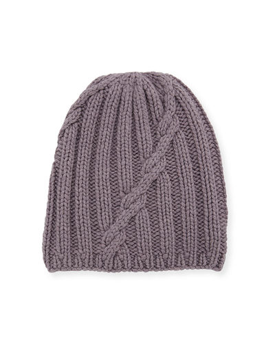 Mixed-Knit Cashmere Beanie Hat