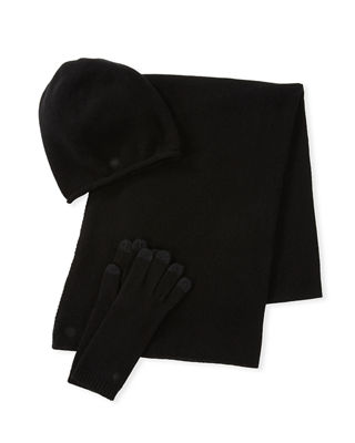 Luxe Wool-Blend Smart Gloves, Beanie & Scarf Set