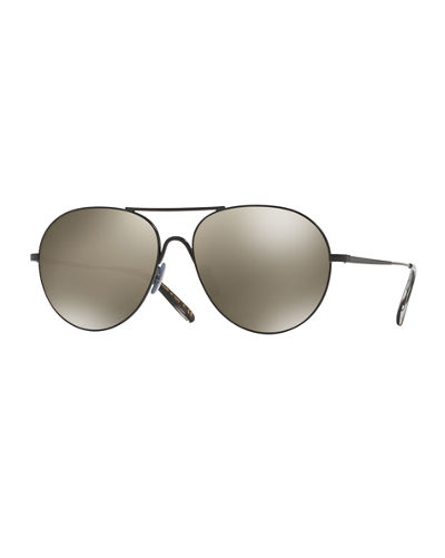Oliver Peoples Rockmore Mirrored Aviator Sunglasses
