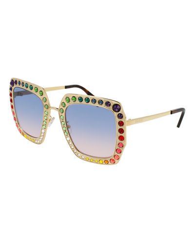 Gucci Oversized Square Metal Sunglasses w/ Swarovski® Frame