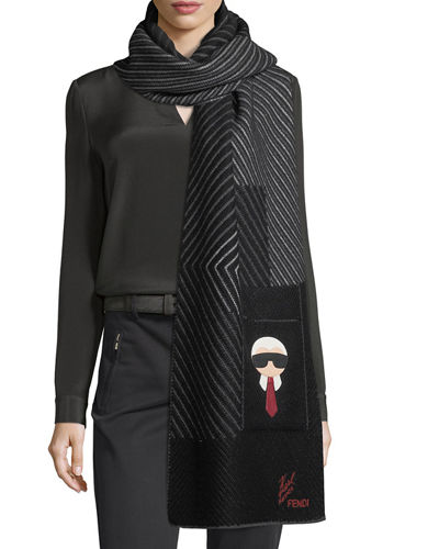 Fendi Karlito Cashmere-Blend Striped Pocket Scarf