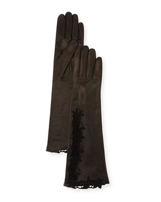 Flower Embroidery Napa Leather Gloves