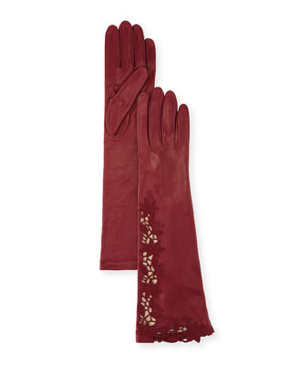Portolano Flower Embroidery Napa Leather Gloves