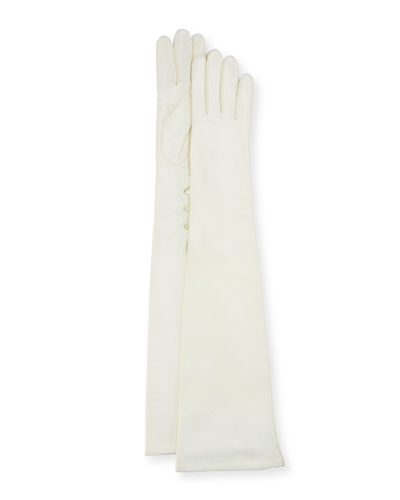 Portolano Button-Trim Napa Leather Gloves