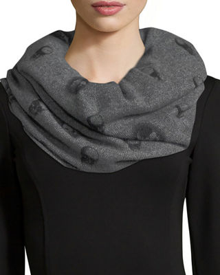 360Sweater Scarlett Skull-Print Cashmere Infinity Scarf