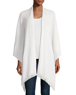 Neiman Marcus Cashmere Collection Cashmere Fringe-Trim Shawl Wrap