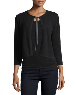 Neiman Marcus Cashmere Collection Cashmere Chain-Tie Shrug