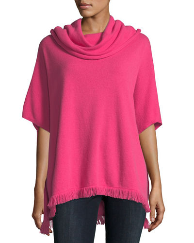 Neiman Marcus Cashmere Collection Fringe-Trimmed Cowl-Neck