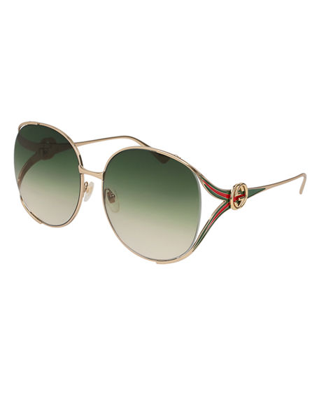 Image 1 of 2: Gucci Oval Web GG Sunglasses