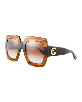 Image 1 of 3: Oversized Square Web GG Sunglasses