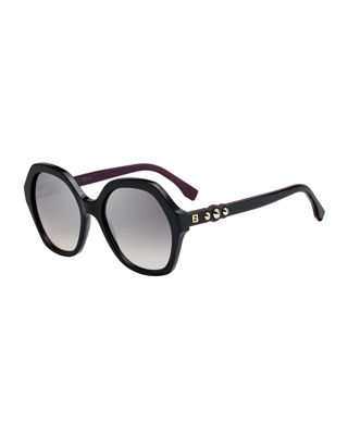 Fendi Studded Two-Tone Acetate Sunglasses