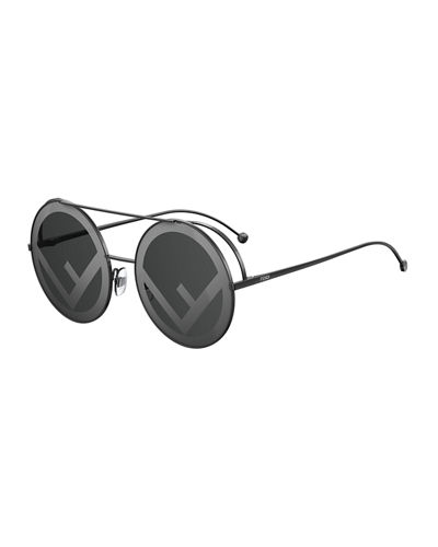 Fendi Round Logo-Lenses Sunglasses
