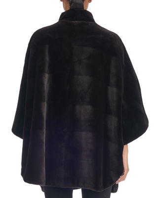 Image 2 of 2: Sheared Mink Horizontal Belted Cape Coat