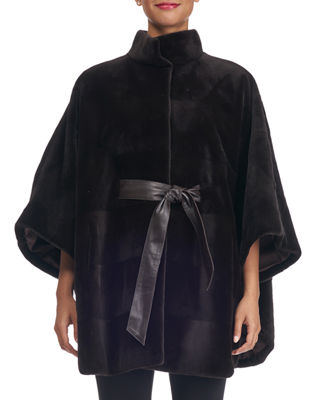 Image 1 of 2: Sheared Mink Horizontal Belted Cape Coat