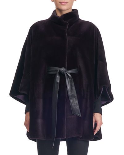 Sheared Mink Horizontal Belted Cape Coat
