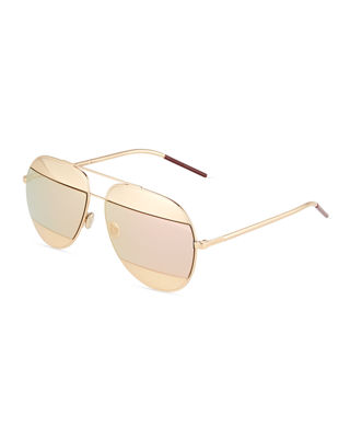 Dior DiorSplit Two-Tone Metallic Aviator Sunglasses