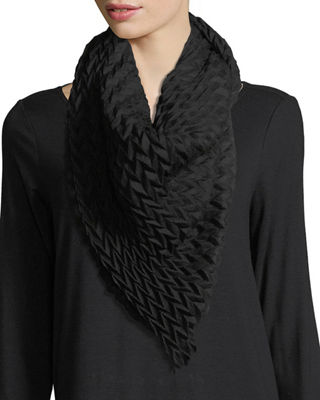 Eileen Fisher Pleated Wool/Silk Scarf