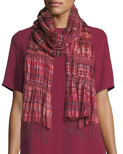 Eileen Fisher Hand-Loomed Silk Stripe Puckered Scarf and