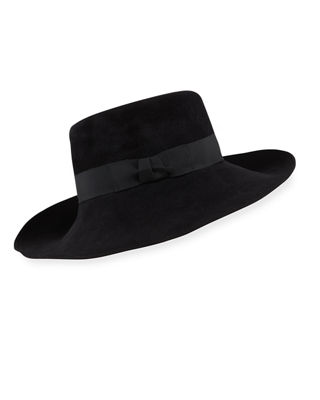 Candice Velour Fedora Hat w/ Ribbon Bow