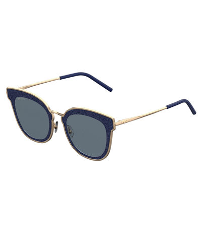 Jimmy Choo Niles Glittered Cat-Eye Sunglasses