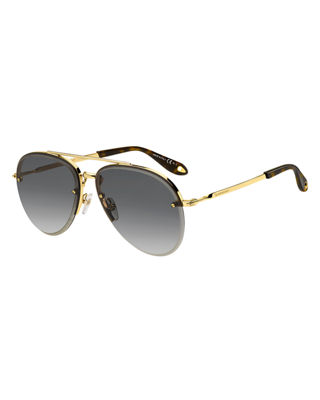 Semi-Rimless Gradient Aviator Sunglasses