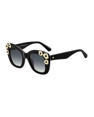 Image 1 of 3: drystle flower-trim acetate sunglasses